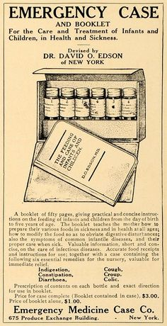 This is an original 1907 black and white print ad for the Emergency Case and Booklet for the Care and Treatment of Infants and Children in Health and Sickness, a product by the Emergency Medicine Case