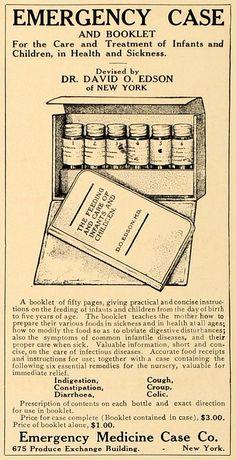 ☤ MD ☞ ☆☆☆ 1907 Ad. Emergency Medicine Case and booklet. Infants and Children. Dr. David O. Edson.