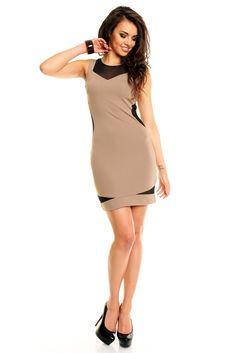 Neu im Kitten-Shop! Tolles braunes Kleid mit Netz-Optik! Abendkleider-Cocktailkleider-Partykleider-Minikleider-sexy-elegant-ausgefallen-online-cocktail dresses-party dresses- evening dresses-mini dresses- elegante-sexy-online-S-M-L