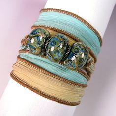 Silk Ribbon Bracelet  Hand Painted Jewelry Bracelet  by Quintess, $27.99