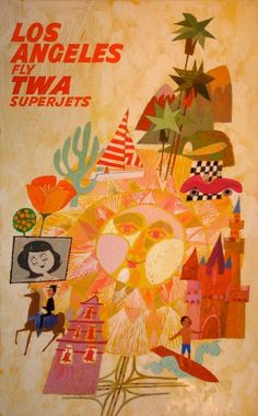 Los Angeles - TWA  almost feels like alexander girard. anybody know who illustrated this poster?