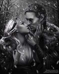 A Mixed-media grayscalecommission for danisjarofstars, of her couple Alistair and Sarina in a winter setting. This one tookquite a while longer than expected to finish, but I lear...