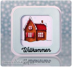 "Willkommensgrußkarte, Karte für neue Nachbarn oder zum Umzug | welcome card, card for new neighbours - Purple Onion Designs ""Pine House"", My Favorite Things ""Inside & Out Stitched Rounded Rectangles"", Create A Smile Stamps ""Kleine Worte"", Copics"