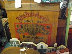 Budweiser Beer Wooden Wall Cabinet, Bud Collectible, at Scranberry Coop Antiques Andover NJ