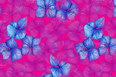 Hydrangea floral seamless pattern by Art By Silmairel on @creativemarket