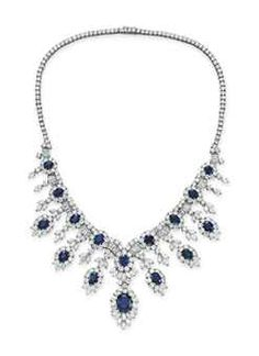 A SAPPHIRE AND DIAMOND NECKLACE, BY CARTIER