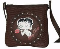 "This Betty Boop messenger bag has the following features  Top zipper closure Back side zip pocket Fully lined interior Open slip pocket Approximate Size: 11""L x 10""H x 5""W"