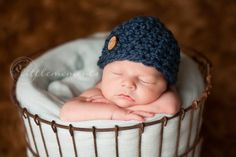 Baby Boy Hat, Newborn Baby Boy Crochet Hat Chunky Blue Button, Great for Photo Prop. $22.00, via Etsy.