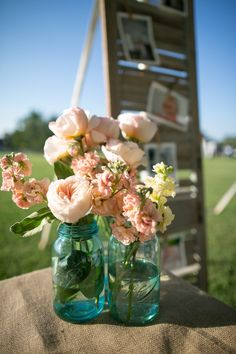 peonies and other neutral colored flowers in blue mason jars; SMP