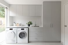 A laundry makeover that's practical, functional AND beautiful. Contemporary and elegant laundry makeover by Jane Ledger Modern Laundry Rooms, Laundry Room Layouts, Laundry Room Remodel, Laundry In Bathroom, Laundry Closet, Narrow Laundry Rooms, Laundry In Kitchen, White Laundry Rooms, Utility Closet