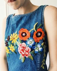 Blooming denim One of a kind shift dress available on etsy #embroidery #handstitched #etsy #floral