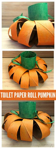 Easy Toilet Paper Roll Pumpkin Craft | upcycle empty toilet paper rolls into an easy kids craft for fall