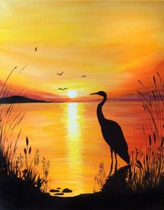 Crane at the sunset waters edge. Painting created at Graffiti Paintbar, Nashua NH Heron silhouetted in front of sunset by lake. Painting created at Graffiti Paintbar, Nashua NH Graffiti Paintbar in Nashua NH Bring's Out the Artist in Everyone - Design Art Easy Canvas Painting, Acrylic Canvas, Canvas Art, Painting Art, Canvas Ideas, Painting Lessons, Diy Canvas, Painting Doors, Lake Painting