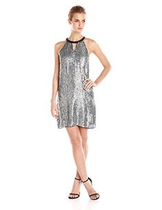 Parker Womens Sansa Sequin Halter Dress Silver 4 -- Read more reviews of the product by visiting the link on the image.