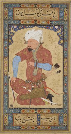 An Uzbek Prisoner / Leaf from the Read Persian Album, Probably Herat (Afghanistan), ca. 1600, MS M.386.2r. Purchased by Pierpont Morgan, 1911. Photography: Graham S. Haber / Courtesy of The Morgan Library & Museum