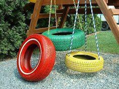 """Tyre swings, simply painted ("""",)"""