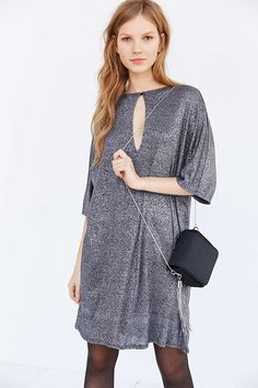 <Small> Silence + Noise Glittery T-Shirt Dress - Urban Outfitters