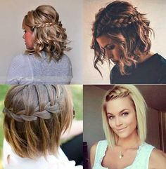 Braids with waves, dressy/casual hair styles Up Hairstyles, Pretty Hairstyles, Braided Hairstyles, Wedding Hairstyles, Hairstyle Ideas, Medium Hair Styles, Curly Hair Styles, Pinterest Hair, Dream Hair