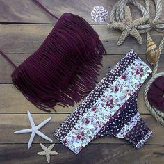 FREE SHIPPING     sexy Printed tassel bikini  FREE SHIPPING