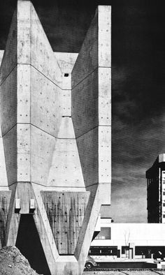 """fuckyeahbrutalism: """" Town Hall, Marl, Germany, 1967 (Van den Broek & Bakema) """" View this on the map Concrete Architecture, Futuristic Architecture, Contemporary Architecture, Architecture Details, Interior Architecture, Bauhaus, Colani, Concrete Structure, Modern Buildings"""
