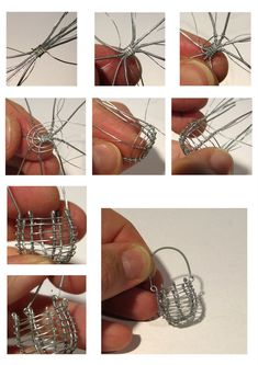 Lil'La: Metallilankahommia - Metal wire work (could be used to hold a captured bead in top closed after bead inserted) Miniature Crafts, Miniature Dolls, Wire Crafts, Jewelry Crafts, Art Bio, Wire Wrapped Jewelry, Wire Jewelry, Wire Tutorials, Fairy Furniture