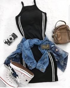 Mini Shirt Dress Outfit mit Jeansjacke und Converse - Outfits Pedia - New Ideas Teen Fashion Outfits, Mode Outfits, Cute Fashion, Stylish Outfits, Girl Outfits, Fashion Dresses, Black Outfits, High Fashion, Fashion Fashion