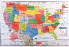 "USA US MAP Poster Size Wall Decoration Large MAP of United States 40""x28""  NEW #KAPPA #MAP"