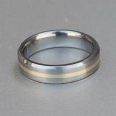 yellow gold and titanium wedding band Titanium Rings, Wedding Bands, Engagement Rings, Yellow, Silver, Gold, Jewelry, Rings, Jewellery Making