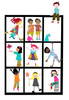 Cool collage idea...each child create a collage self-portrait of them in motion and display as a community quilt...