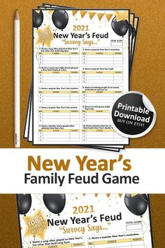 Family Feud Game, Family Games, New Years Eve Games, New Year's Games, New Years Eve Party, Physics, Party Ideas, Printables, Etsy Shop