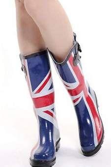 Union Jack Print Waterproof Boots  cheers