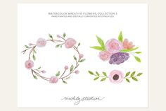 Check out 3 PNG Watercolor Flowers & Wreath by michLg studios on Creative Market