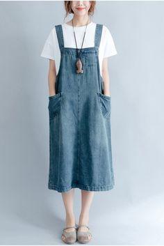 2017 Summer Blue Denim Suspender Skirt Women Clothes – Olwyn Hughes – Join in the world of pin Salopette Jeans, Summer Denim, Suspender Skirt, Overall Dress, Jeans Dress, Denim Skirt, Denim Overalls, Dungarees, Dress Skirt
