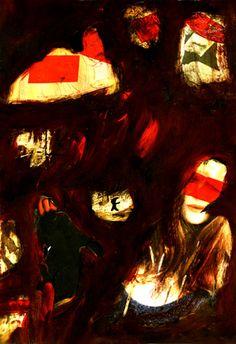 """10-Toulouse Lautrec x Cris Acqua.  Pintura Mixta Collage. 30x21 cm. HOMENAJE :""""Mi amor por este genial pintor...dueño de los trazos más libres y geniales de la Belle epoque, me han influido totalmente en mi camino por el arte..."""" (Cris Acqua)  http://www.crisacqua.com"""