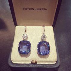 sapphire and diamond earrings! #stephenrusselljewelry
