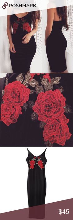 BEAUTIFUL ROSE EMBROIDERY SLIP DRESS   BEAUTIFUL ROSE EMBROIDERY BLACK DRESS  Dresses Midi