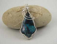 WSP-0243 Chrysocolla Gemstone cabochon Handmade Pendant, Necklace, Slider, Wire Wrapped With .925 Sterling Silver Wire by inspiredcreationsco on Etsy
