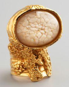 Y153F Yves Saint Laurent Yellow Golden Arty Ring, Cream