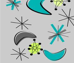 Mid-Century Atomic Boomerangs fabric by egnatz on Spoonflower - custom fabric Mid Century Modern Wallpaper, Atomic Decor, Vintage Tupperware, Vintage Prints, Fabric Patterns, Wall Prints, Custom Fabric, Spoonflower, Fabric Design