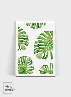 Monstera Leaf Print Wall Decor Tropical Home Botanical PrintsWall PrintsPlant LeavesTropical LeavesLeaf ArtPrintable