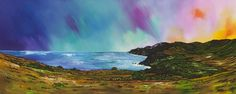 Edinburgh Paintings & Prints – Dusk Light Over Siccar Point and Fast Castle Head From Above Pease Bay, Berwickshire, Scotland.