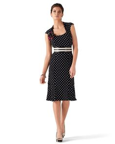 Sleeveless Knit Dot Sheath -- I wear this with a solid black or bow belt (or a red one).