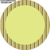 Marrom e Verde Poá e Listras - Kit Completo com molduras para convites, rótulos para guloseimas, lembrancinhas e imagens!