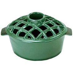 2 1/4 Quart Emerald Green Cast Iron Steamer Pot with Lattice Top