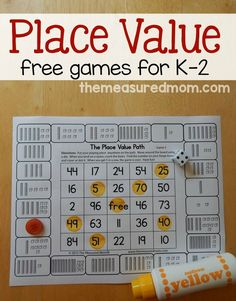 for place value games for kids in Print these free games to give your child practice counting hundreds, tens, and ones.Looking for place value games for kids in Print these free games to give your child practice counting hundreds, tens, and ones. Math Place Value, Place Values, Place Value Centers, Math Resources, Math Activities, Place Value Activities, Daily 3 Math, Kindergarten Games, Grade 2 Math Games