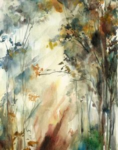 Landscape Watercolor Painting Art Print Forest by CanotStopPrints