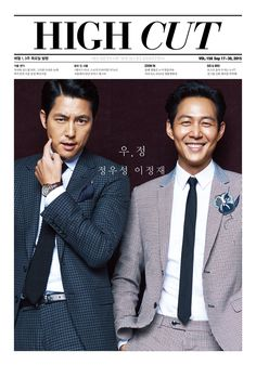 A-list actors and BFFs Jung Woo Sung and Lee Jung Jae are taking over 'High Cut' magazine's issue! The handsome duo will be featured in a spread, with photos of the pair at the 2015 'Cartier Fine Watchmaking Collection' event that took place on September Sung Lee, Jung Woo Sung, Lee Jung, Korean Celebrities, Korean Actors, Kdrama Actors, Korean Entertainment, Korean Star, High Cut