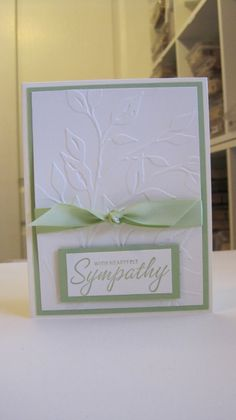 I needed a sympathy card for a lady at church whose dad passed away and of course, I went searching for ideas on quick and simple cards the. Hand Stamped Cards, Embossed Cards, Stamping Up Cards, Get Well Cards, Scrapbook Cards, Scrapbooking, Cool Cards, Creative Cards, Greeting Cards Handmade
