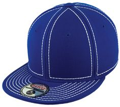 Blank Heavy Stitch Fitted Cap - Royal/White