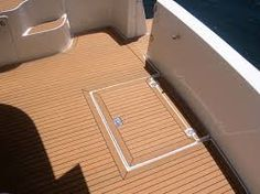 This Fake Teak decking is used for the cockpit area of the Chesapeake 46. This decking will never rot and doesn't require much maintenance as real teak decking.